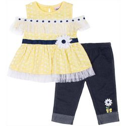 Little Lass Baby Girls Daisy Embellished Capri Leggings Set