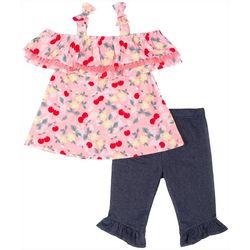 Little Lass Baby Girls Cold Shoulder Cherry Leggings Set