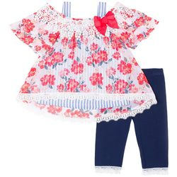 Little Lass Baby Girls Floral Stripe Lace Trim Leggings Set
