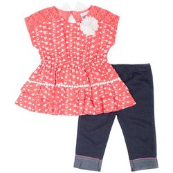 Little Lass Baby Girls Eyelet Ruffle Leggings Set