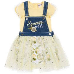 Little Lass Baby Girls Squeeze-able Skirted Shortalls Set