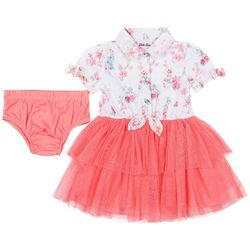 Little Lass Baby Girls Floral Lace Tulle Dress