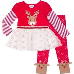 Little Lass Baby Girls Reindeer Tutu Leggings Set