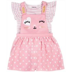 Little Lass Baby Girls Cat Shortalls Set
