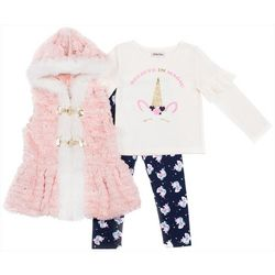 Little Lass Baby Girls 3-pc. Furry Unicorn Vest Set
