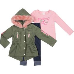 Little Lass Baby Girls 3-pc. Awesome Floral Jacket