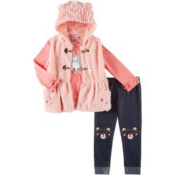Little Lass Baby Girls 3-pc. Bear Hug Vest Leggings Set
