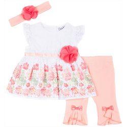 Little Lass Baby Girls 3-pc. Embellished Floral Leggings Set
