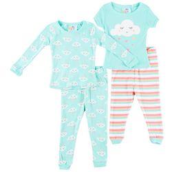 Quiltex Baby Girls 4-pc. Cloud Stripe Pajama Set