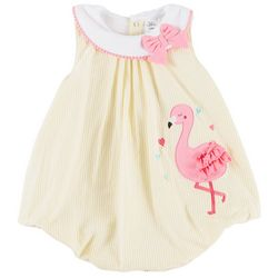 Sunshine Baby Baby Girls Stripe Flamingo Bubble Romper