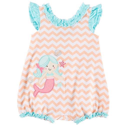 9f4b4b4a8f44 Sunshine Baby Baby Girls Chevron Mermaid Ruffle Romper