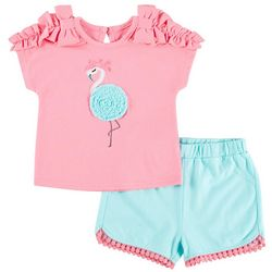 Sunshine Baby Baby Girls Flamingo Ruffle Shorts Set