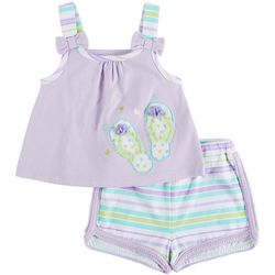 Sunshine Baby Baby Girls Embellished Flip Flop Short Set