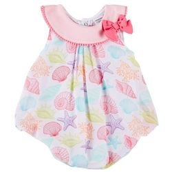 Sunshine Baby Baby Girls Seashell Print Bubble Romper