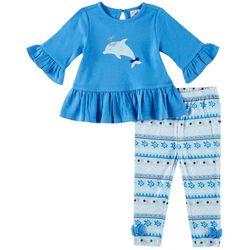 Sunshine Baby Baby Girls Dolphin Bow Hem Pants Set