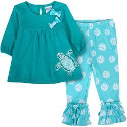 Sunshine Baby Baby Girls Sea Turtle Ruffle Hem Pants Set