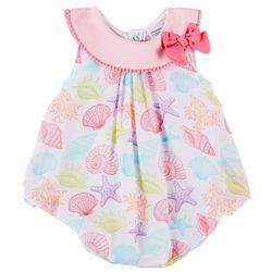 Sunshine Baby Baby Girls Chiffon Shell Bubble Romper