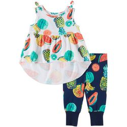 Miniville Baby Girls 2-pc. Fruit Print Legging Set