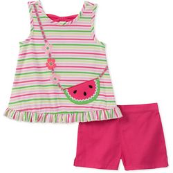 Kids Headquarters Baby Girls Watermelon Stripe Short Set