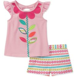 Kids Headquarters Baby Girls Flower Shorts Set