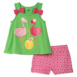 Kids Headquarters Baby Girls Flamingo Shorts Set