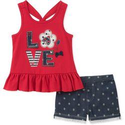 Kids Headquarters Baby Girls Ladybug Love Short Set