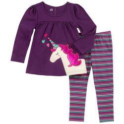 Kids Headquarters Baby Girls Unicorn Stripe Leggings Set