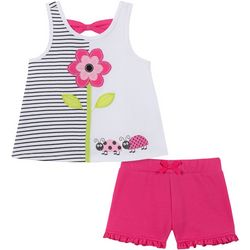 Kids Headquarters Baby Girls Floral Stripe Top & Shorts Set