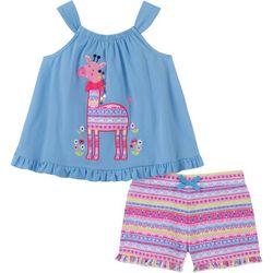 Kids Headquarters Baby Girls Giraffe Top & Shorts Set