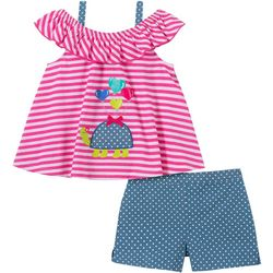 Kids Headquarters Baby Girls Turtle Top & Shorts Set