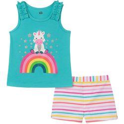 Kids Headquarters Baby Girls Unicorn Top & Stripe Shorts Set
