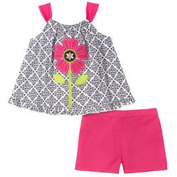 Kids Headquarters Baby Girls Floral Top & Solid Shorts Set