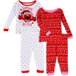 Sesame Street Baby Girls 4-pc. Santa Elmo pajama Set