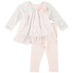 Pippa & Julie Baby Girls Chiffon Flower Leggings Set