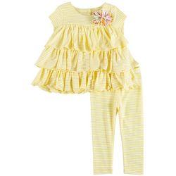Pippa & Julie Baby Girls Stripe Ruffle Leggings Set