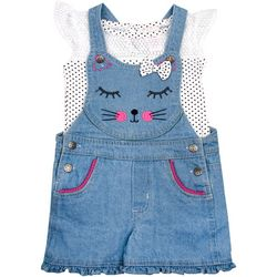 Nannette Baby Girls Dot Print Car Shortall Set