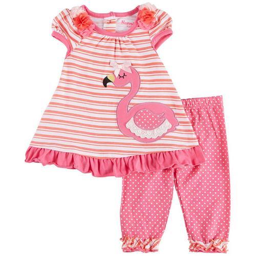 1d436611de16 Nannette Baby Girls Flamingo Stripe Leggings Set