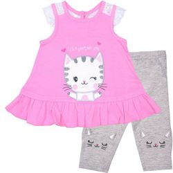 Nannette Baby Girls It's A Purrfect Day Leggings Set
