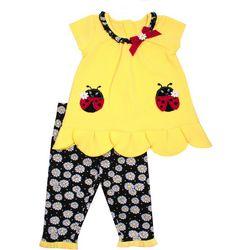 Nannette Baby Girl Ladybug Floral Leggings Set