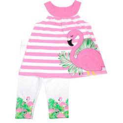 Nannette Baby Girl Stripe Flamingo Leggings Set