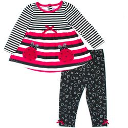 Nannette Baby Girls Striped Ladybug Leggings Set