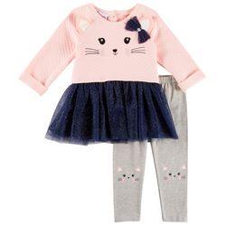 Nannette Baby Girls Kitten Tutu Leggings Set