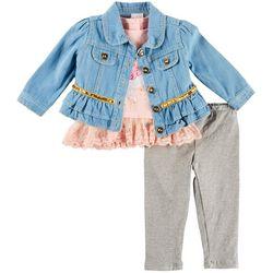 Nannette Baby Girls 3-pc. Unicorn Jacket Leggings Set