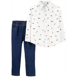 Carters Baby Boys Icon Print Button Down Jeans Set
