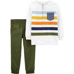 Carters Baby Boys Striped Henley Pants Set