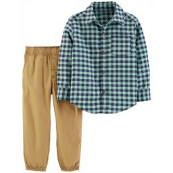 Carters Baby Boys 2-pc. Gingham Button Down Pants Set
