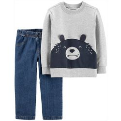 Carters Baby Boys 2-pc. Bear Face Jeans Set