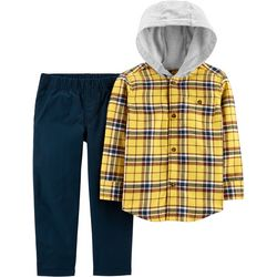 Carters Baby Boys Plaid Button Down Hoodie Pants Set