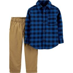 Carters Baby Boys 2-pc. Navy Plaid Button Down Pants Set