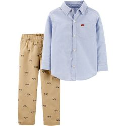Carters Baby Boys 2-pc. Striped Rescue Vehicle Pants Set
